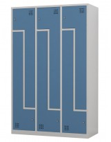 Taquilla metálica de 3 módulos de puertas en L