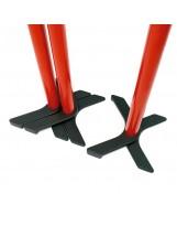 Poste metálico axial rojo y cinta retráctil negra 3 m