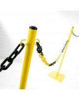 Poste metálico amarillo para catenaria