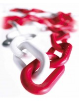 Cadena de plástico rojo-blanco 5 metros