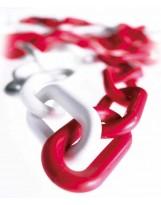 Cadena de plástico rojo-blanco 25 metros