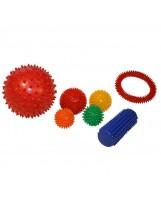 Conjunto 5 pelotas sensoriales, rodillo y aro