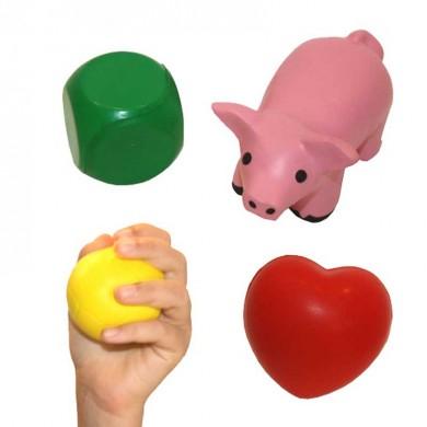 Conjunto antiestrés de pelota, dado, cerdito y corazón