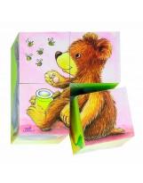 Puzzle 4 dados 6 animales bebé