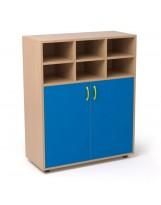 Armario de madera con puertas 1+1 estante y 6 casilleros