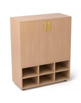 Armario de madera con estante y 6 casilleros