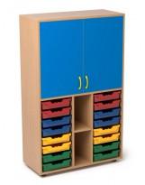 Armario escolar de madera 1 estante, 2 casilleros y 2 gaveteros
