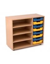 Estantería de madera con 3 estantes y gavetero