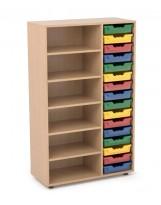 Estantería de madera con 5 estantes y 1 gavetero