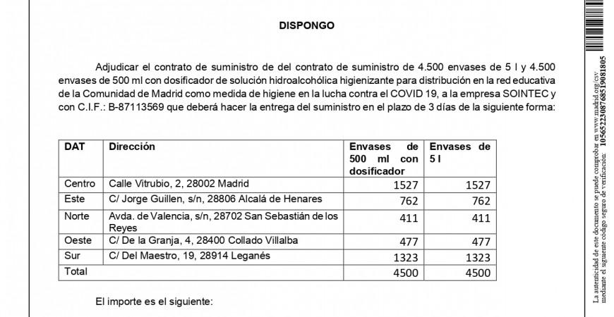 Gel hidroalcohólico para todos los centros educativos de la Comunidad de Madrid